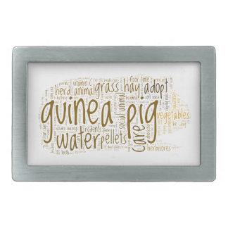 Guinea Pig Care Reminder Word Cloud Rectangular Belt Buckle