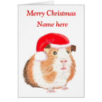 Guinea Pig Christmas card, customisable Card