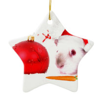 Guinea Pig Christmas Ceramic Ornament