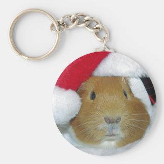 guinea pig christmas keychain