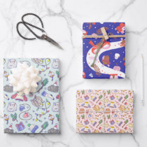 Guinea pig Christmas pattern set of 3 Wrapping Paper Sheets