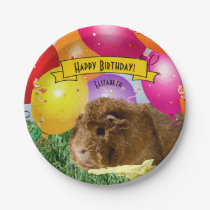 Guinea Pig Colorful Balloons Custom Party Paper Plate