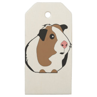 Guinea Pig Illustration Wooden Gift Tags