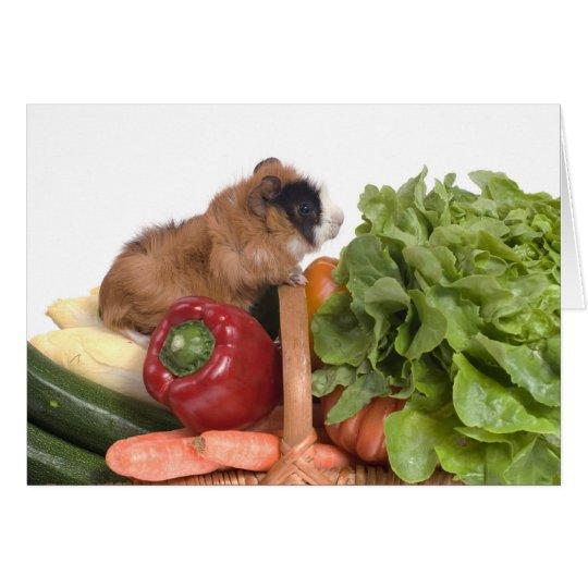 guinea pig in a basket of vegetables card