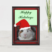 Guinea Pig in Santa Hat Holiday Card