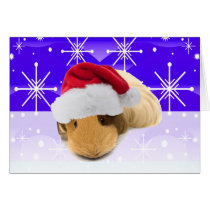 Guinea Pig In Santa Hat With Snowflakes Card