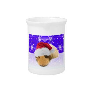 Guinea Pig In Santa Hat With Snowflakes Drink Pitcher