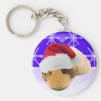 Guinea Pig In Santa Hat With Snowflakes Keychain