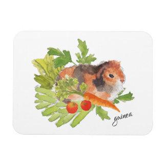 Guinea Pig Leek Carrot Salad Watercolor Magnet