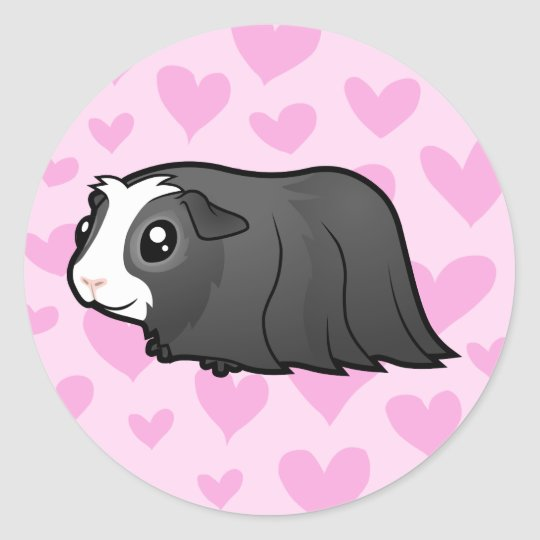 Guinea Pig Love (long hair) Classic Round Sticker