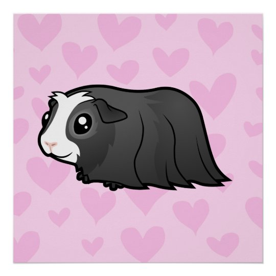 Guinea Pig Love (long hair) Poster