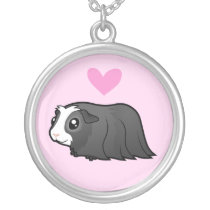 Guinea Pig Love (long hair) Silver Plated Necklace