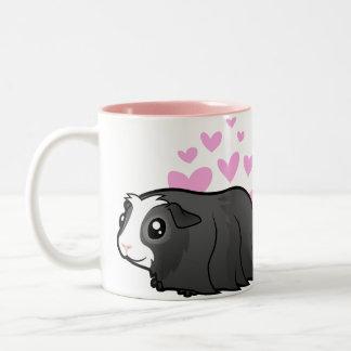 Guinea Pig Love (long hair) Two-Tone Coffee Mug