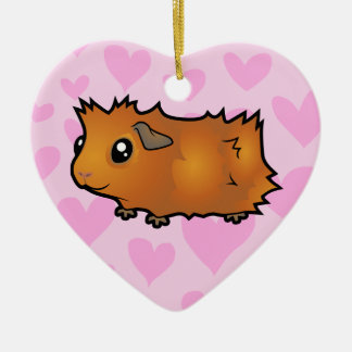 Guinea Pig Love (scruffy) Double-Sided Heart Ceramic Christmas Ornament