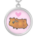 Guinea Pig Love (scruffy) Round Pendant Necklace