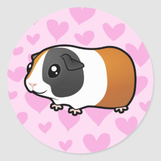 Guinea Pig Love (smooth hair) Classic Round Sticker