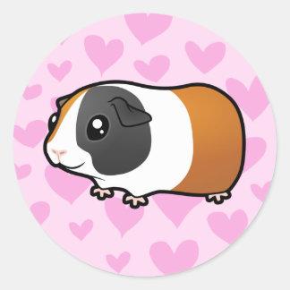 Guinea Pig Love (smooth hair) Classic Round Sticker