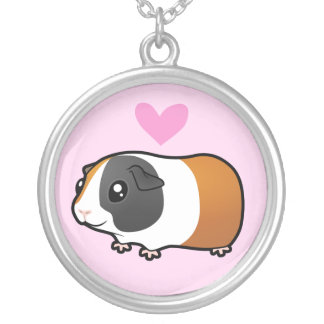 Guinea Pig Love (smooth hair) Round Pendant Necklace