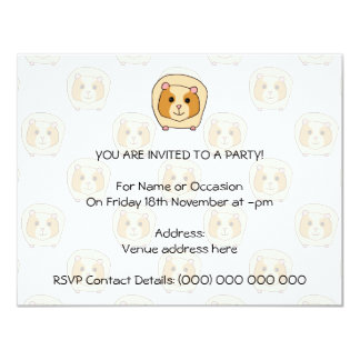 Guinea Pig on a pattern of paler Guinea Pigs. 4.25x5.5 Paper Invitation Card