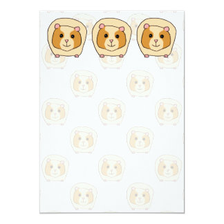 Guinea Pig on a pattern of paler Guinea Pigs. 5x7 Paper Invitation Card