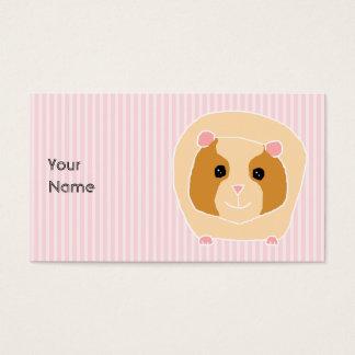 Guinea Pig, on light pink stripes. Business Card