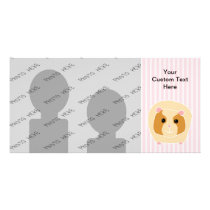 Guinea Pig, on light pink stripes. Card