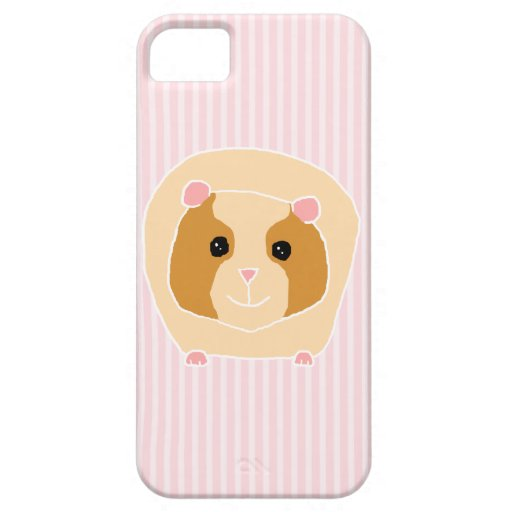 Guinea Pig, on light pink stripes. iPhone 5 Cases