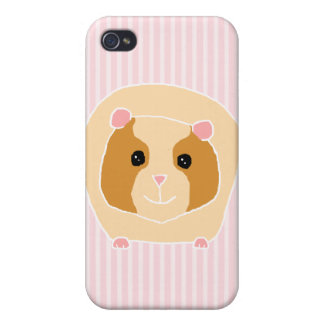 Guinea Pig, on light pink stripes. iPhone 4/4S Cases