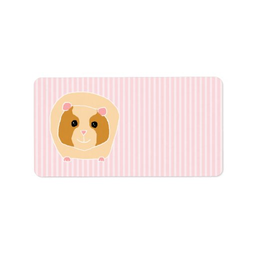 Guinea Pig, on light pink stripes. Personalized Address Labels