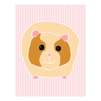 Guinea Pig, on light pink stripes. Postcard