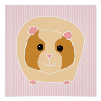 Guinea Pig, on light pink stripes. Posters