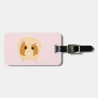 Guinea Pig, on light pink stripes. Tags For Luggage