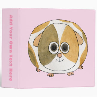 Guinea Pig on Pink. 3 Ring Binder