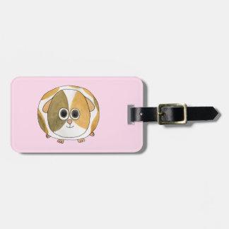 Guinea Pig on Pink. Bag Tag