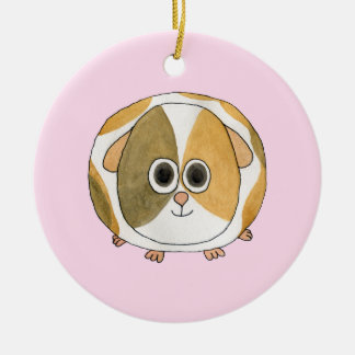 Guinea Pig on Pink. Double-Sided Ceramic Round Christmas Ornament