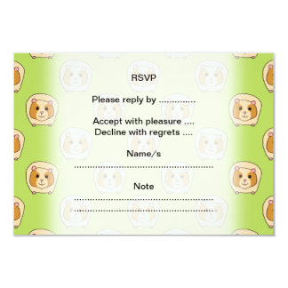 Guinea Pig Pattern, on Green. 3.5x5 Paper Invitation Card