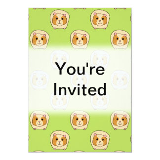 Guinea Pig Pattern, on Green. 5x7 Paper Invitation Card
