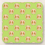 Guinea Pig Pattern, on Green. Coaster