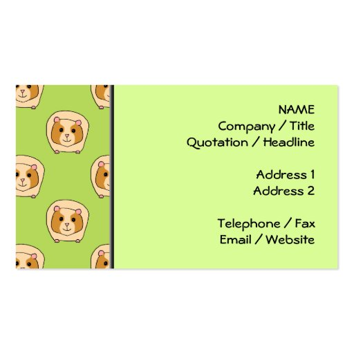Guinea Pig Pattern, on Green. Double-Sided Standard Business Cards (Pack Of 100)