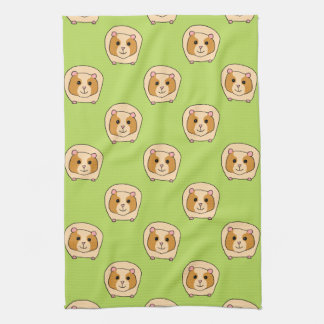 Guinea Pig Pattern, on Green. Hand Towels