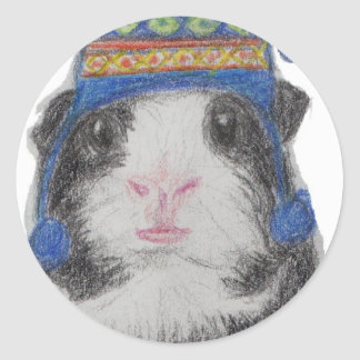 GUINEA PIG SHERPA HAT ROUND STICKERS