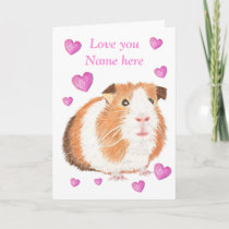 Guinea Pig Valentine card, customizable Holiday Card