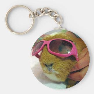 guinea pig wearing sunglasses key ring keychain