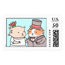 Guinea-pig Wedding Couple Postage