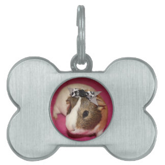 Guinea Pig With Bow 2 Pet ID Tag