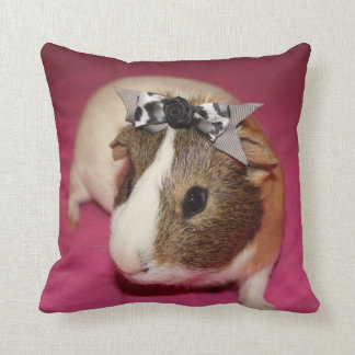 Guinea Pig With Bow 2 Throw Pillows
