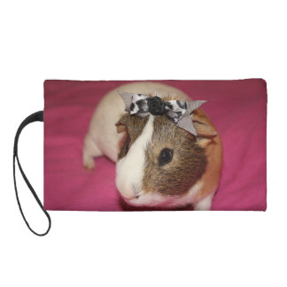 Guinea Pig With Bow 2 Wristlet Purse
