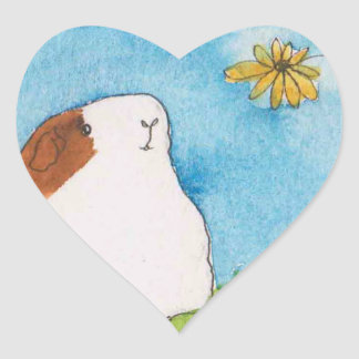 Guinea pig with flower heart sticker