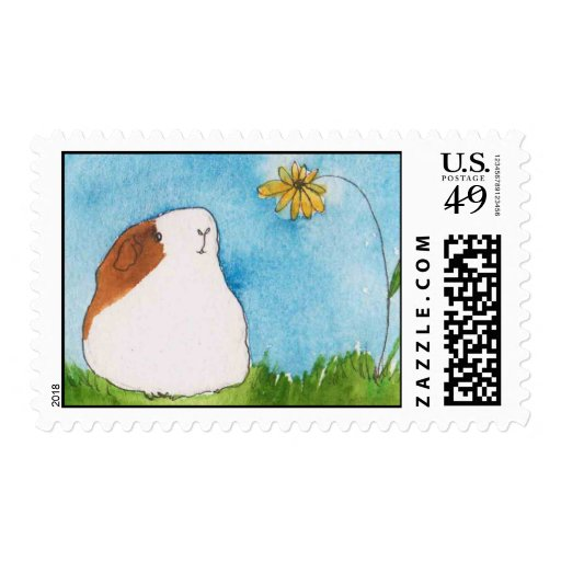 Guinea pig with Flower Postage Stamp