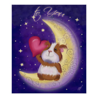 Guinea pig with heart poster